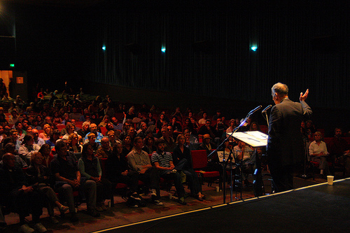 Nader speaks at the Roxie in Santa Cruz, CA